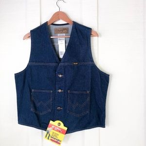 NOS Vtg Men's WRANGLER Unlined Denim Vest Cowboy